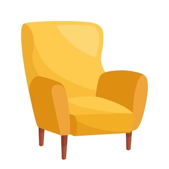 Stilvoller gelber sessel auf weißem hintergrund, vektorillustration