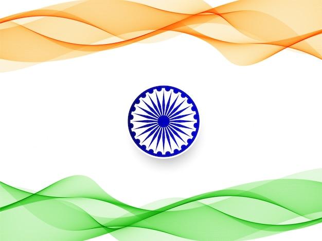 Stilvoller gewellter indischer flaggenentwurfshintergrund