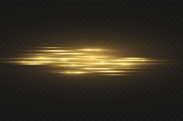 Stilvoller goldener lichteffekt. abstrakte laserstrahlen des lichts. chaotische neonlichtstrahlen. golden glitzert. getrennt auf transparentem dunklem hintergrund. vektor-illustration. eps 10 Premium Vektoren
