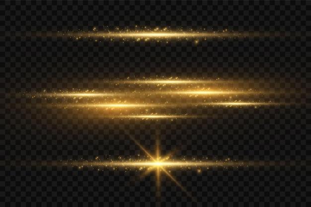 Stilvoller goldener lichteffekt. abstrakte laserstrahlen des lichts. chaotische neonlichtstrahlen. golden glitzert. getrennt auf transparentem dunklem hintergrund. vektor-illustration. eps 10