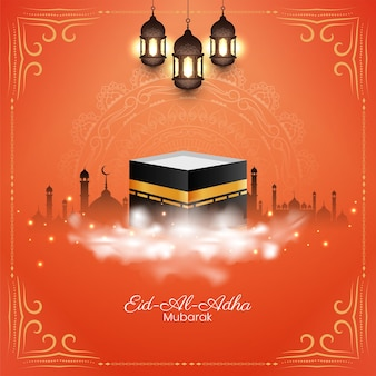 Stilvoller islamischer eid al adha mubarak hintergrunddesignvektor