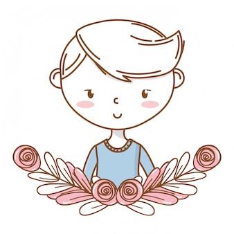 Stilvoller jungenkarikatur-ausstattungsporträt-blumenkranzrahmen