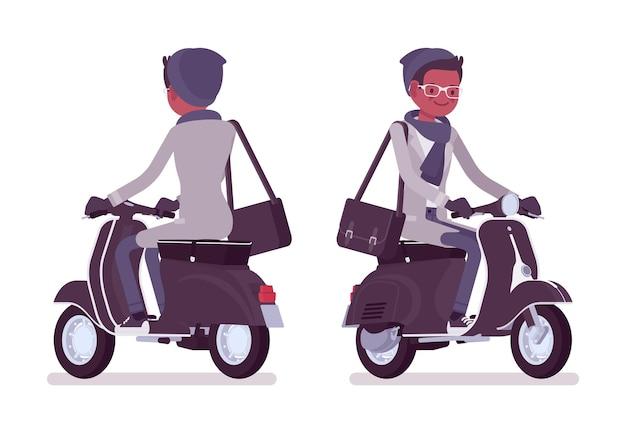 Stilvoller junger schwarzer mann, der einen roller reitet, der herbstkleidillustration trägt