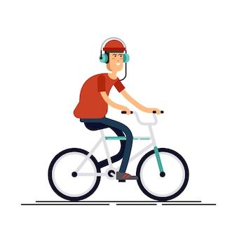 Stilvoller männlicher hipster auf fahrrad