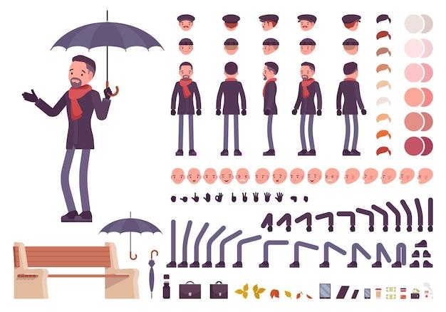 Stilvoller mann mittleren alters mit regenschirm im herbstkleidungs-charaktererstellungssatz