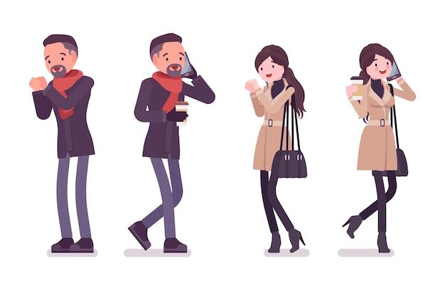 Stilvoller mann und frau mit telefonkaffee, die kalte illustration fühlen
