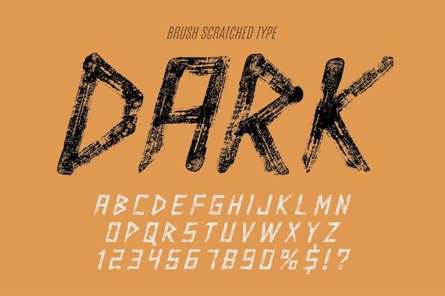 Stilvoller pinsel malte großbuchstaben, alphabet, schrift. ursprüngliche textur.