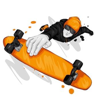 Stilvoller typ und skateboard.