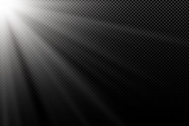 Stilvoller weißer lichteffekt. weiße strahlen. licht in der dunkelheit. helle explosion. abstraktes licht.