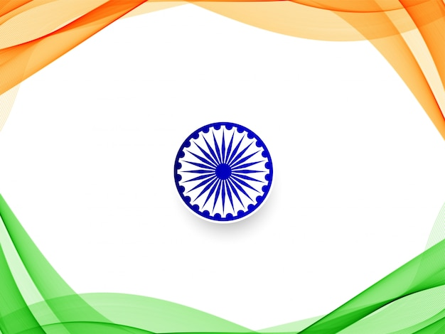 Stilvoller wellenförmiger hintergrund der indischen flagge