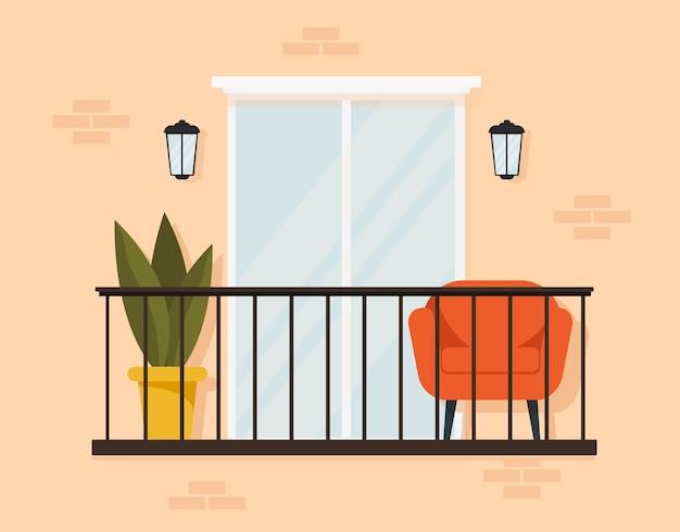 Stilvolles äußeres eines gemütlichen balkons mit möbeln und großem fenster