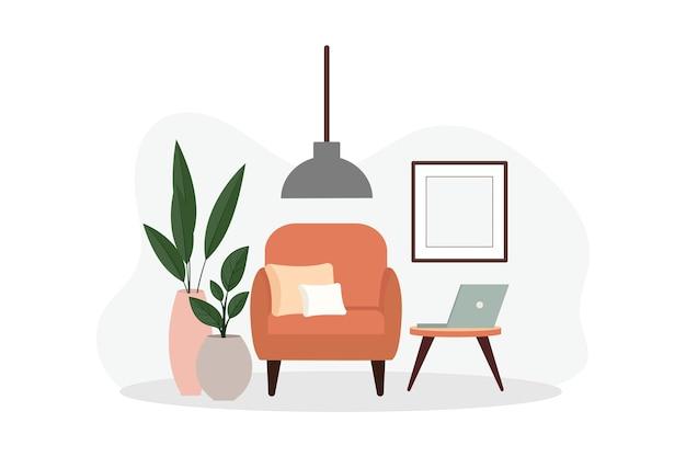 Stilvolles apartment-interieur im skandinavischen stil mit modernem dekor. gemütlich eingerichtetes wohnzimmer. flache vektorillustration der karikatur. helle, stilvolle und komfortable möbel mit zimmerpflanzen.