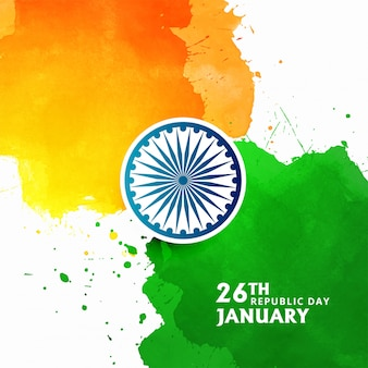 Stilvolles aquarell des indischen flaggenthemas