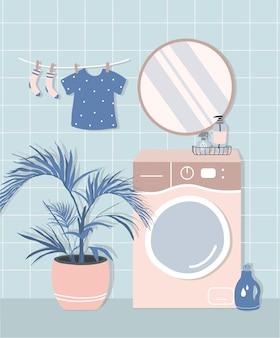 Stilvolles badezimmerinterieur im modernen skandinavischen stil. waschmaschine, spiegel, blumen, kosmetik und waschmittel. gemütliche moderne komfortable wohnung
