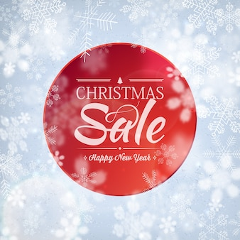 Stilvolles banner des weihnachtsverkaufs mit grußtext über frohes neues jahr und verkäufe