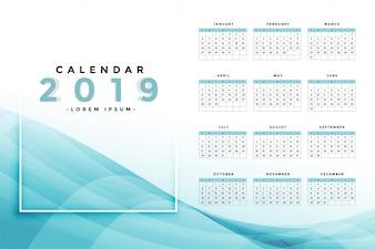 Stilvolles blaues Kalenderdesign 2019
