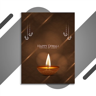 Stilvolles broschürendesign des glücklichen diwali-festivals