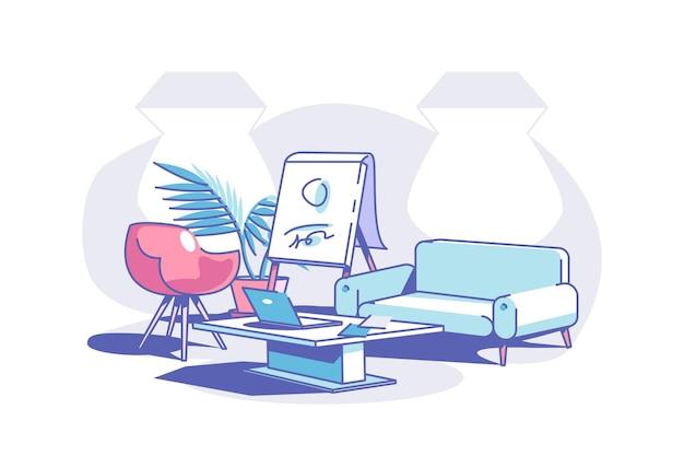 Stilvolles bürodesign-vektorillustration bequemes sofa und couchtisch mit modernem laptop