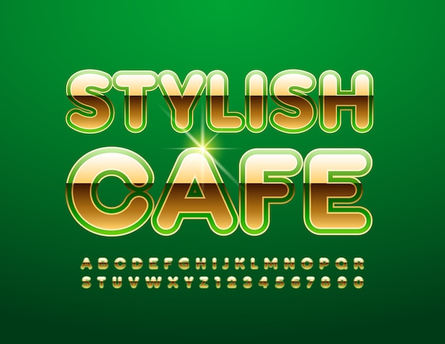 Stilvolles cafe. premium-schriftart in grün und gold. luxus alphabet buchstaben und zahlen eingestellt