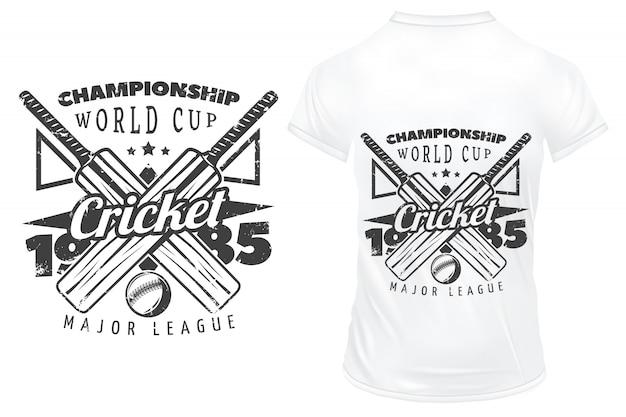 Stilvolles cricket-emblem für hemdschablone