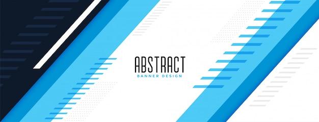 Stilvolles design des modernen blauen geometrischen breiten banners