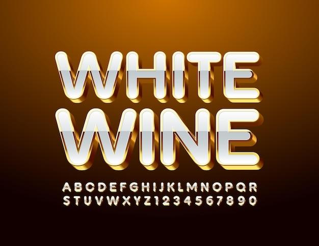 Stilvolles etikett weißwein hochglanz großbuchstaben luxus alphabet buchstaben und zahlen