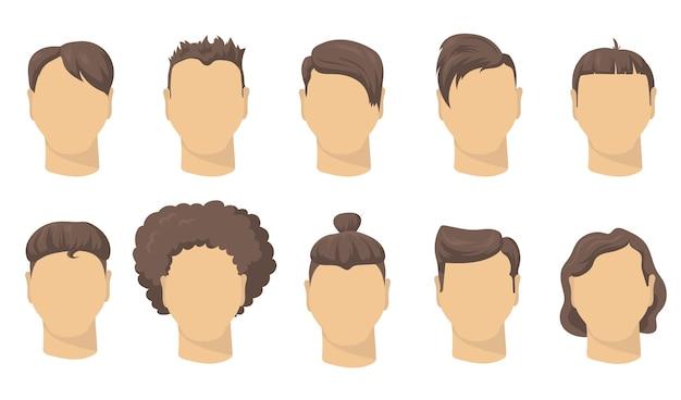 Stilvolles, flaches set mit verschiedenen männlichen frisuren für das webdesign. kurze frisuren des karikaturmanns für hipster isolierte vektorillustrationssammlung. friseurladen, mode- und stilkonzept