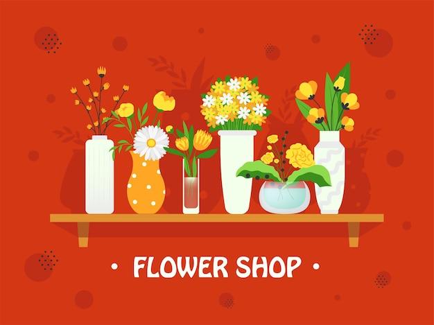 Stilvolles hintergrunddesign mit blumen in vasen. bunte ikebana und blumensträuße im regal. floristik und florist family shop konzept. vorlage für grußetiketten oder einladungskarte