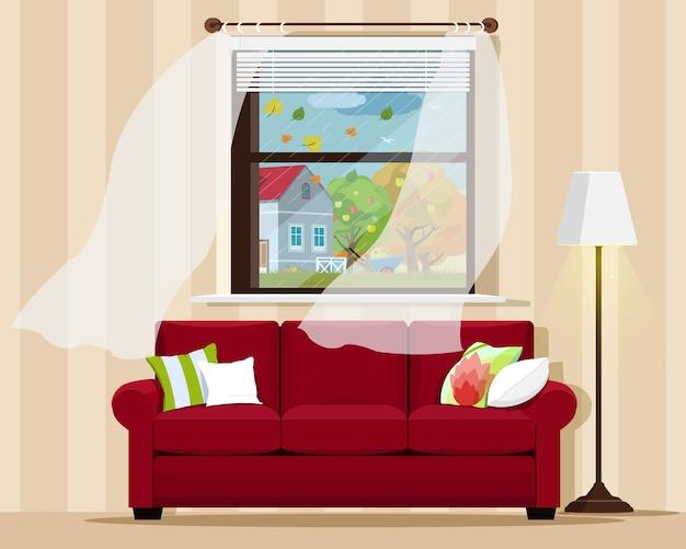 Stilvolles, komfortables zimmer mit sofa, lampe, fenster und herbstlandschaft. illustration.