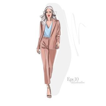 Stilvolles mädchen in modekleidung. hand gezeichnetes schönes mädchen