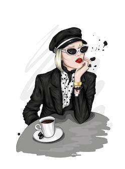 Stilvolles mädchen und kaffee