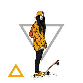 Stilvolles mädchen und skateboard.