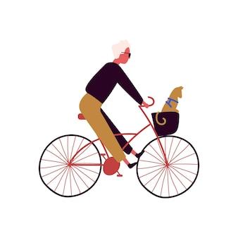 Stilvolles männliches reiten der karikatur auf dem fahrrad mit der katze, die in der flachen illustration des korbvektors sitzt. modischer mann auf dem fahrrad mit dem haustier lokalisiert auf weiß. aktiver fahrradfahrer beim treten.