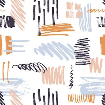 Stilvolles nahtloses muster mit lebendigen pinselstrichen, kritzelfleck auf weiß
