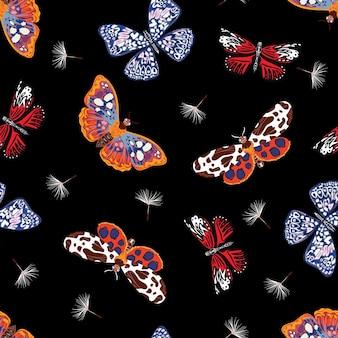 Stilvolles nahtloses muster von fliegenden schmetterlingen mit wehendem löwenzahn-blumenvektor eps10, illustrationsdesign für mode, stoff, textil, tapete, abdeckung, web, verpackung auf schwarz