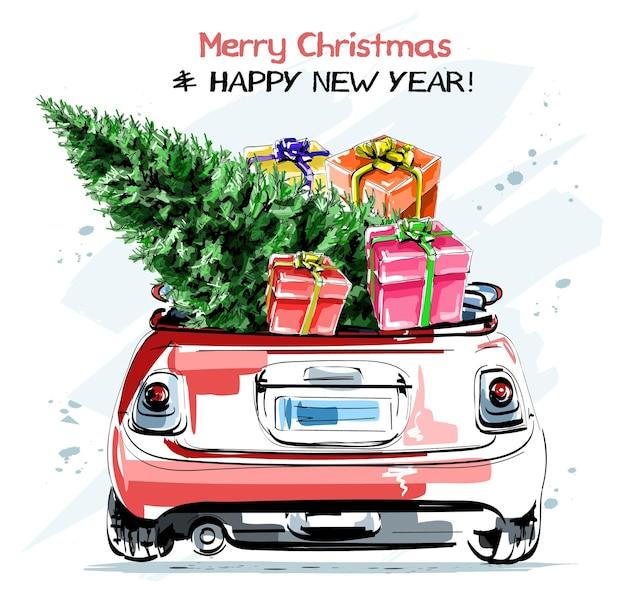 Stilvolles rotes auto mit niedlichen weihnachtsgeschenkboxen und tannenbaum