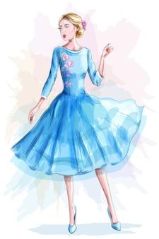 Stilvolles schönes mädchen im blauen kleid