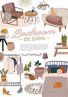 Stilvolles skandinavisches schlafzimmerinterieur. gemütliche moderne komfortable wohnung eingerichtet