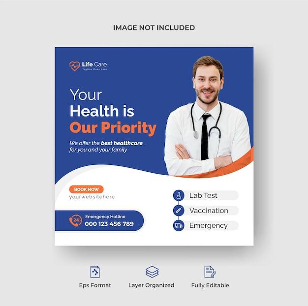 Stilvolles social-media-post- und webbanner- oder quadratisches flyerdesign für das gesundheitswesen premium-vektor