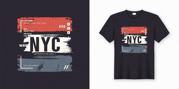 Stilvolles t-shirt new york city und abstraktes plakat des kleides.