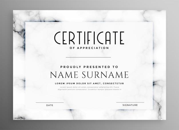 Stilvolles weißes zertifikat mit marmorbeschaffenheit