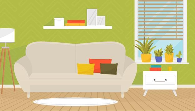 Stilvolles wohnzimmer mit gemütlichem sofa