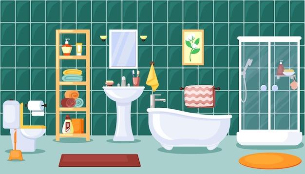 Stilvolles zentrales badezimmer mit weißem waschbecken-duschspiegel