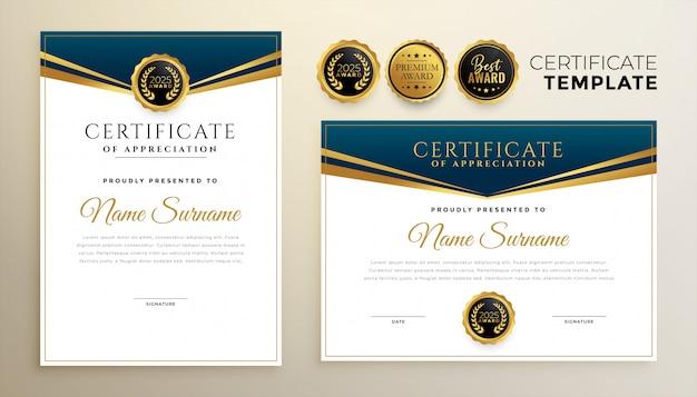 Stilvolles zertifikat der anerkennungsvorlage von zwei