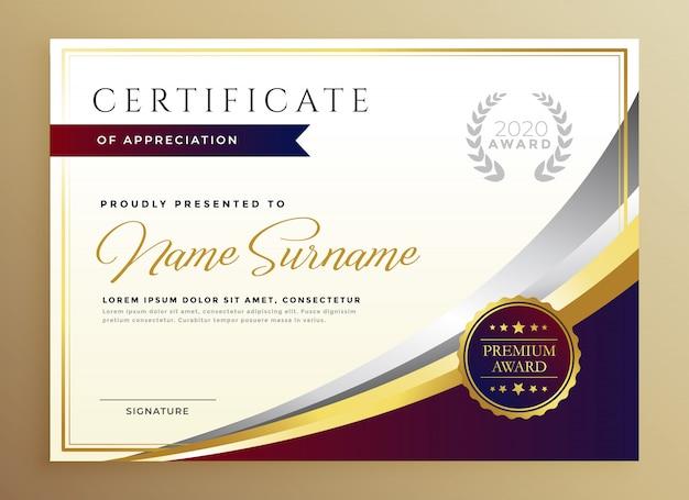 Stilvolles zertifikatschablonendesign im goldenen thema