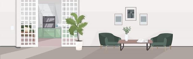 Stilvolles zuhause modernes wohnzimmer interieur leer keine menschen haus halle mit möbeln flach horizontal