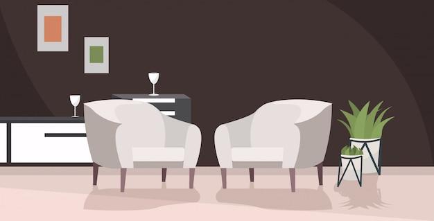 Stilvolles zuhause modernes wohnzimmer interieur leer keine menschen haus zimmer mit möbeln flach horizontal