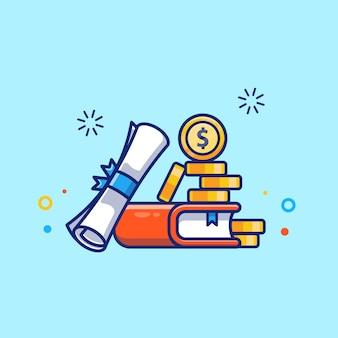 Stipendienillustration. diplom, buch und geld.