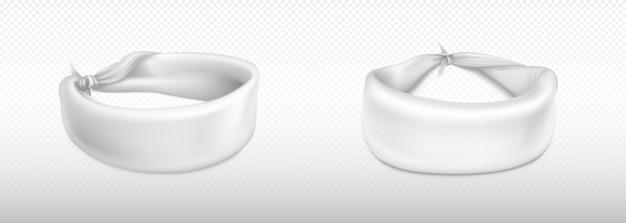 Stirnband, kopftuch für kopf oder handgelenk, weißes tuch