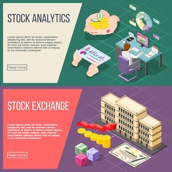 Stock exchange isometrische banner festgelegt